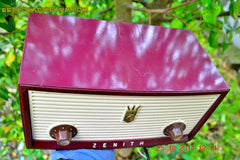 SOLD! - Dec 30, 2014 - BURGUNDY CABERNET Retro Jetsons Vintage 1957 Zenith B508R AM Tube Radio WORKS! , Vintage Radio - Zenith, Retro Radio Farm  - 7