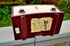 SOLD! - Dec 30, 2014 - BURGUNDY CABERNET Retro Jetsons Vintage 1957 Zenith B508R AM Tube Radio WORKS! , Vintage Radio - Zenith, Retro Radio Farm  - 8