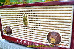 SOLD! - Dec 30, 2014 - BURGUNDY CABERNET Retro Jetsons Vintage 1957 Zenith B508R AM Tube Radio WORKS! , Vintage Radio - Zenith, Retro Radio Farm  - 6