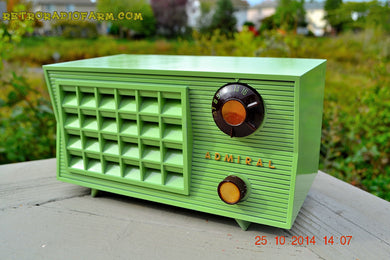 SOLD!- Nov. 8, 2014 BIANCHI GREEN Vintage 1955 Admiral 5R3 AM Tube Radio - [product_type} - Admiral - Retro Radio Farm