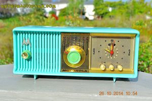 SOLD! - Nov 28, 2014 - VIVID Turquoise Retro Jetsons 1957 Motorola 57CC Tube AM Clock Radio WORKS! - [product_type} - Motorola - Retro Radio Farm