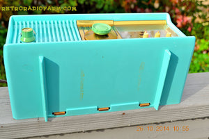 SOLD! - Nov 28, 2014 - VIVID Turquoise Retro Jetsons 1957 Motorola 57CC Tube AM Clock Radio WORKS! , Vintage Radio - Motorola, Retro Radio Farm  - 10