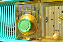 Load image into Gallery viewer, SOLD! - Nov 28, 2014 - VIVID Turquoise Retro Jetsons 1957 Motorola 57CC Tube AM Clock Radio WORKS! , Vintage Radio - Motorola, Retro Radio Farm  - 8