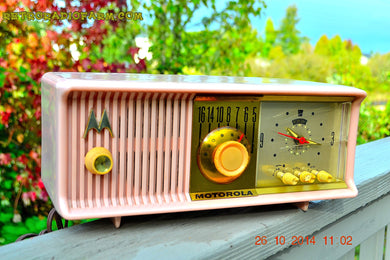 SOLD! - Nov 28, 2014 - PINK PUSSYCAT Retro Jetsons 1957 Motorola 57CC Tube AM Clock Radio WORKS! - [product_type} - Motorola - Retro Radio Farm