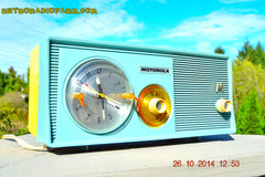 SOLD! - Dec 9, 2014 - BABY BLUE Retro Jetsons 1957 Motorola 5C14CW Tube AM Clock Radio WORKS! , Vintage Radio - Motorola, Retro Radio Farm  - 8