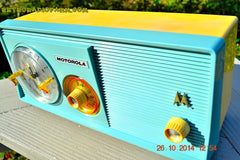 SOLD! - Dec 9, 2014 - BABY BLUE Retro Jetsons 1957 Motorola 5C14CW Tube AM Clock Radio WORKS! , Vintage Radio - Motorola, Retro Radio Farm  - 5