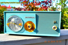 SOLD! - Dec 9, 2014 - BABY BLUE Retro Jetsons 1957 Motorola 5C14CW Tube AM Clock Radio WORKS! , Vintage Radio - Motorola, Retro Radio Farm  - 2