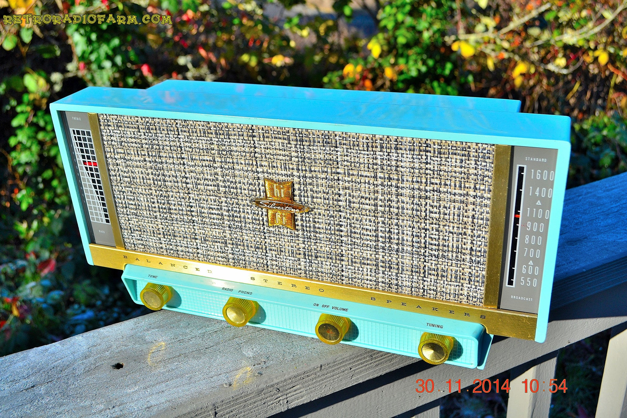 SOLD! - April 13, 2015 - MP3 READY - PLAN 9 FROM OUTER SPACE Ice Blue Retro Jetsons Vintage 1957 Silvertone Model 13 AM Tube Radio Totally Restored! - [product_type} - Silvertone - Retro Radio Farm