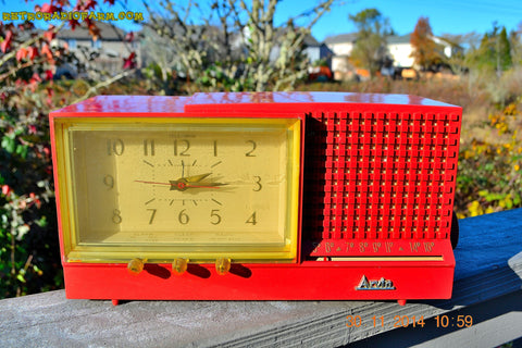 SOLD! - Dec 6, 2014 - CORAL PINK Retro Jetsons Vintage 1958 Arvin Model 5578 AM Tube Clock Radio WORKS!