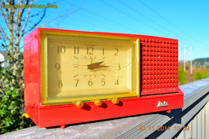 SOLD! - Dec 6, 2014 - CORAL PINK Retro Jetsons Vintage 1958 Arvin Model 5578 AM Tube Clock Radio WORKS! - [product_type} - Arvin - Retro Radio Farm