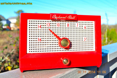 SOLD! - Dec 24, 2014 - CHERRY Red Retro Jetsons Vintage 1956 Packard Bell 5R1 AM Tube Radio WORKS! - [product_type} - Packard-Bell - Retro Radio Farm