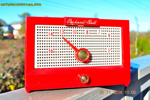 SOLD! - Dec 24, 2014 - CHERRY BOMB Red Retro Jetsons Vintage 1956 Packard Bell 5R1 AM Tube Radio WORKS!