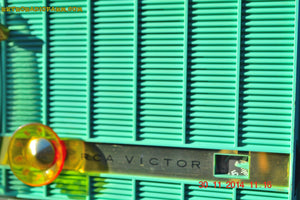 SOLD! - Dec 6, 2014 - TURQUOISE Retro Jetsons Vintage 1957 RCA Victor Model C-3HE AM Tube Radio WORKS! - [product_type} - RCA Victor - Retro Radio Farm