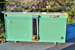 SOLD! - Feb 9, 2016 - WORKING PORTABLE Turquoise Retro Jetsons Vintage 1957 RCA Victor Model TX1-HE AM Battery Only Solid State Radio , Vintage Radio - RCA Victor, Retro Radio Farm  - 4