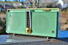 SOLD! - Feb 9, 2016 - WORKING PORTABLE Turquoise Retro Jetsons Vintage 1957 RCA Victor Model TX1-HE AM Battery Only Solid State Radio , Vintage Radio - RCA Victor, Retro Radio Farm  - 3