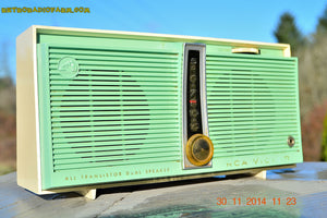 SOLD! - Feb 9, 2016 - WORKING PORTABLE Turquoise Retro Jetsons Vintage 1957 RCA Victor Model TX1-HE AM Battery Only Solid State Radio - [product_type} - RCA Victor - Retro Radio Farm