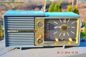 SOLD! - Dec 5, 2014 - BLUE SLATE Retro Jetsons Vintage 1959 Motorola Model 66C AM Tube Clock Radio WORKS! - [product_type} - Motorola - Retro Radio Farm
