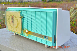 SOLD! - Dec 13, 2014 - TURQUOISE Retro Jetsons Vintage 1957 RCA Victor Model C-3HE AM Tube Radio WORKS! - [product_type} - RCA Victor - Retro Radio Farm