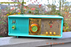 SOLD! - Dec 17, 2014 - VIVID Turquoise Retro Jetsons 1957 Motorola 57CC Tube AM Clock Radio WORKS! - [product_type} - Motorola - Retro Radio Farm