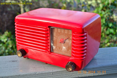 SOLD! - Feb 2, 2015 - LIPSTICK RED Vintage Deco Retro 1947 Philco Transitone 48-200 AM Bakelite Tube Radio Works! Wow! , Vintage Radio - Philco, Retro Radio Farm  - 1