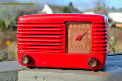 SOLD! - Feb 2, 2015 - LIPSTICK RED Vintage Deco Retro 1947 Philco Transitone 48-200 AM Bakelite Tube Radio Works! Wow! , Vintage Radio - Philco, Retro Radio Farm  - 4