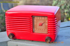SOLD! - Feb 2, 2015 - LIPSTICK RED Vintage Deco Retro 1947 Philco Transitone 48-200 AM Bakelite Tube Radio Works! Wow! , Vintage Radio - Philco, Retro Radio Farm  - 6