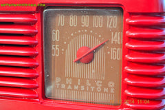 SOLD! - Feb 2, 2015 - LIPSTICK RED Vintage Deco Retro 1947 Philco Transitone 48-200 AM Bakelite Tube Radio Works! Wow! , Vintage Radio - Philco, Retro Radio Farm  - 9