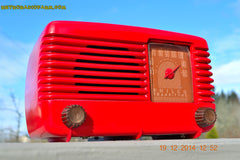 SOLD! - Feb 2, 2015 - LIPSTICK RED Vintage Deco Retro 1947 Philco Transitone 48-200 AM Bakelite Tube Radio Works! Wow! , Vintage Radio - Philco, Retro Radio Farm  - 5