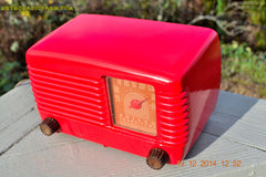 SOLD! - Feb 2, 2015 - LIPSTICK RED Vintage Deco Retro 1947 Philco Transitone 48-200 AM Bakelite Tube Radio Works! Wow! , Vintage Radio - Philco, Retro Radio Farm  - 8