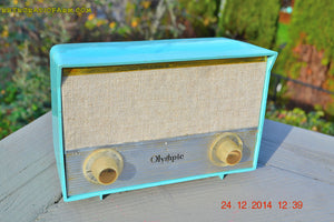 SOLD! - Feb 22, 2016 - RARE BIRD Turquoise Retro Jetsons 1959 Olympic Model 553 Tube AM Radio Totally Restored! - [product_type} - Olympic - Retro Radio Farm