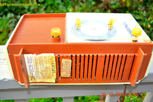 SOLD! - April 8, 2015 - COPPERTONE and Ivory Retro Jetsons Vintage 1960 Sears Model 6036 AM Tube Clock Radio Totally Restored! - [product_type} - RCA Victor - Retro Radio Farm