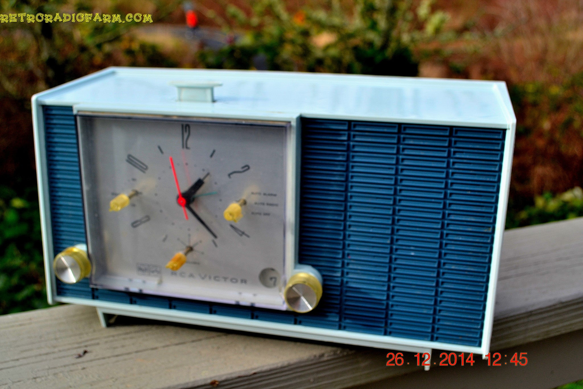 SOLD! - March 24, 2015 - POWDER BLUE TUXEDO Retro Jetsons Vintage 1961 RCA Model RHD21A Tube Clock Radio Totally Restored! , Vintage Radio - RCA Victor, Retro Radio Farm  - 1