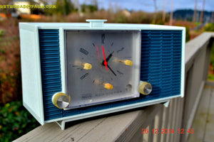 SOLD! - March 24, 2015 - POWDER BLUE TUXEDO Retro Jetsons Vintage 1961 RCA Model RHD21A Tube Clock Radio Totally Restored! , Vintage Radio - RCA Victor, Retro Radio Farm  - 2