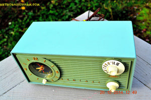 SOLD! - Dec 30, 2014 - PEA GREEN FANTASY Vintage 1955 Admiral 4E3A AM Tube Clock Radio Works! - [product_type} - Admiral - Retro Radio Farm
