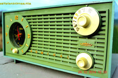 SOLD! - Dec 30, 2014 - PEA GREEN FANTASY Vintage 1955 Admiral 4E3A AM Tube Clock Radio Works! , Vintage Radio - Admiral, Retro Radio Farm  - 4