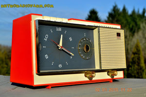 SOLD! - Apr 22, 2016 - ISLAND CORAL Pink Westinghouse Model 720T AM Tube Radio Alarm Clock Totally Restored! - [product_type} - Westinghouse - Retro Radio Farm