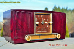 SOLD! - Jan 19, 2015 - SVELTE Burgundy General Electric Model 543 Retro AM Clock Radio Works! , Vintage Radio - General Electric, Retro Radio Farm  - 2