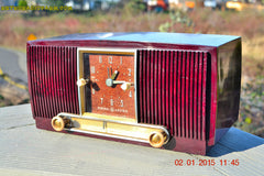 SOLD! - Jan 19, 2015 - SVELTE Burgundy General Electric Model 543 Retro AM Clock Radio Works! , Vintage Radio - General Electric, Retro Radio Farm  - 3