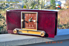 SOLD! - Jan 19, 2015 - SVELTE Burgundy General Electric Model 543 Retro AM Clock Radio Works! , Vintage Radio - General Electric, Retro Radio Farm  - 4