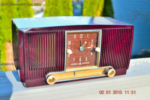 SOLD! - Jan 19, 2015 - SVELTE Burgundy General Electric Model 543 Retro AM Clock Radio Works! - [product_type} - General Electric - Retro Radio Farm