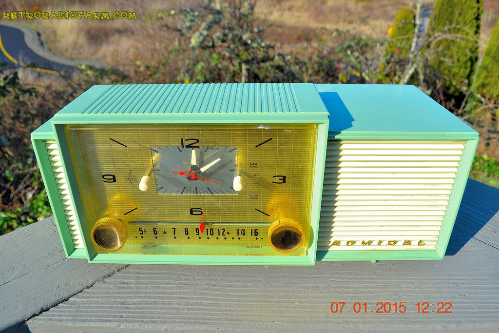 SOLD! - April 8, 2015 - MINT GREEN Retro Jetsons 1959 Admiral Model 298 Tube AM Clock Radio Totally Restored! , Vintage Radio - Admiral, Retro Radio Farm  - 1