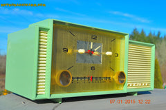 SOLD! - April 8, 2015 - MINT GREEN Retro Jetsons 1959 Admiral Model 298 Tube AM Clock Radio Totally Restored! , Vintage Radio - Admiral, Retro Radio Farm  - 4
