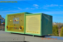 SOLD! - April 8, 2015 - MINT GREEN Retro Jetsons 1959 Admiral Model 298 Tube AM Clock Radio Totally Restored! , Vintage Radio - Admiral, Retro Radio Farm  - 7