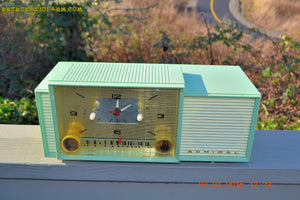 SOLD! - April 8, 2015 - MINT GREEN Retro Jetsons 1959 Admiral Model 298 Tube AM Clock Radio Totally Restored! - [product_type} - Admiral - Retro Radio Farm