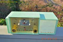SOLD! - April 8, 2015 - MINT GREEN Retro Jetsons 1959 Admiral Model 298 Tube AM Clock Radio Totally Restored! , Vintage Radio - Admiral, Retro Radio Farm  - 5