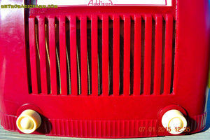 SOLD! - Jan 23, 2015 - CRANBERRY COCKTAIL Art Deco Industrial Retro 1948 Addison Model 55 Bakelite AM Tube AM Radio WORKS! - [product_type} - Addison - Retro Radio Farm