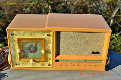 SOLD! - Dec 2, 2016 - SAHARA SANDY TAN Retro Space Age 1956 Arvin Tube AM Clock Radio Totally Restored!