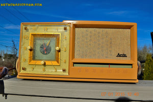 SOLD! - Dec 2, 2016 - SAHARA SANDY TAN Retro Space Age 1956 Arvin Tube AM Clock Radio Totally Restored! - [product_type} - Arvin - Retro Radio Farm