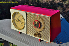 SOLD! - March 23, 2015 - CORVETTE RED AND WHITE Retro Jetsons Late 50s early 60s General Electric GE Tube AM Clock Radio Totally Restored! , Vintage Radio - General Electric, Retro Radio Farm  - 1