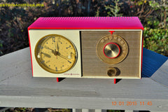 SOLD! - March 23, 2015 - CORVETTE RED AND WHITE Retro Jetsons Late 50s early 60s General Electric GE Tube AM Clock Radio Totally Restored! , Vintage Radio - General Electric, Retro Radio Farm  - 2